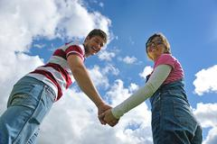 romantic young couple in love together outdoor - stock photo
