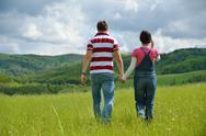 Romantic young couple in love together outdoor Stock Photos