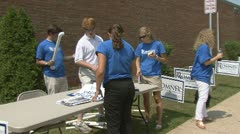 Young Republicans a voter registration booth  - stock footage