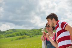 Stock Photo of romantic young couple in love together outdoor