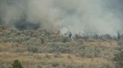 Stock Video Footage of fire, fast advancing brush fire and firemen hosing flames