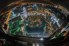 Panorama of down town dubai city at night Stock Photos