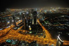 Stock Photo of panorama of down town dubai city at night
