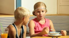 Little Couple at Fast Food Restaurant Stock Footage