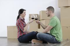 Stock Photo of young couple moving in new home