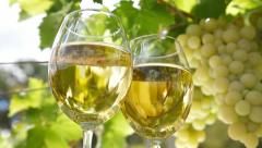 White Grape and Wine Glasses Stock Footage