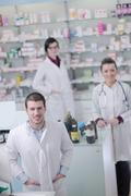 pharmacy drugstore people team - stock photo