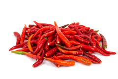basket of long red chillies - stock photo