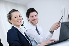 business people group working in customer and helpdesk office - stock photo
