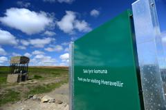 30 june 2012 - picture of hveravellir signage, iceland. Stock Photos