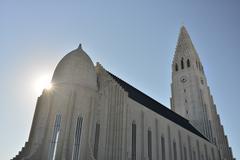 The hallgrímskirkja (literally, the church of hallgrímur) Stock Photos