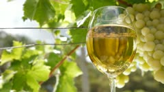 White Grape and Wine Glass Stock Footage