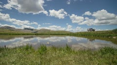 HD 30p Pond at the top of the Continental Divide reflects the sky timelapse Stock Footage