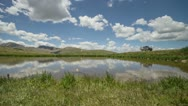Stock Video Footage of HD 30p Pond at the top of the Continental Divide reflects the sky timelapse