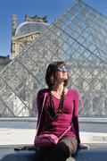 Stock Photo of tourist woman have fun in france