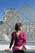 tourist woman have fun in france - stock photo