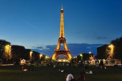 eiffet tower in paris at night - stock photo