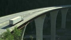 Truck on high bridge 06 Stock Footage