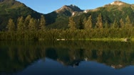 Stock Video Footage of Mountains Reflected in Rippling Peaceful Lake Waters