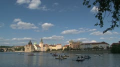 Pedalo tourism at the vltava river Stock Footage