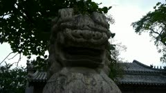 Stone lions at temple entrance,historical monuments,shaking tree shadows. Stock Footage