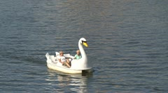 Swan pedalo in vltava river, Prague Stock Footage