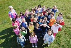Stock Photo of preschool  kids outdoor have fun