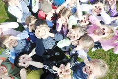 preschool  kids outdoor have fun - stock photo
