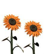metal sunflowers - stock photo
