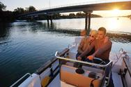 Couple in love  have romantic time on boat Stock Photos