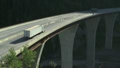Trucks on high bridge 09 Stock Footage