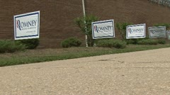 Romney/Ryan political signs Stock Footage