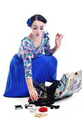 pinup retro  woman with travel bag isolated - stock photo