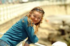 Young woman at seaside Stock Photos