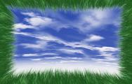 Stock Illustration of Grass frame against blue sky