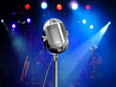 Vintage mic on stage with colorful reflectors - stock illustration