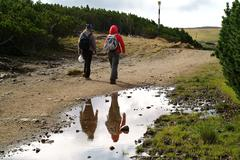 Hikers on trail - stock photo