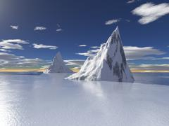 Alaska glacier, 3d render - stock illustration