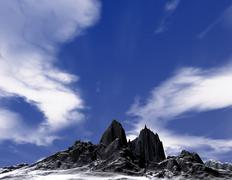 Beautiful snowy mountain - stock illustration