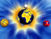 Sport balls revolving around Earth Stock Illustration