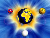 Sport balls revolving around Earth Stock Illustration