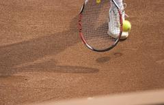 Tennis racket and ball Stock Photos