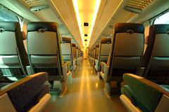 Modern train interior Stock Photos