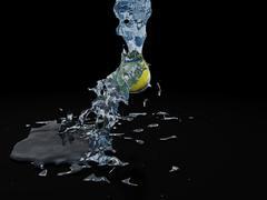 splashing lemon - stock illustration