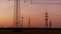 Power Poles With Sunset (Electricity) - stock footage