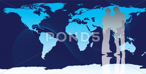 Stock Illustration of Business illustration, business people and earth map