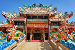 Facade of the chinese temple Stock Photos
