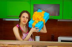 Young woman received a gift Stock Photos