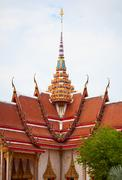 Facade of buddhist temple. thailand, wat chalong. Stock Photos