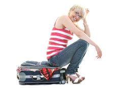 woman with travel bag - stock photo
